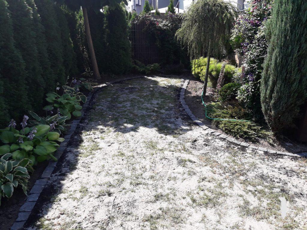 wyrównywanie trawnika przez piaskowanie