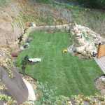 Trawnik z rolki widok z skarpy